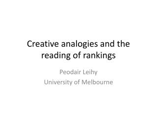 Creative analogies and the reading of rankings