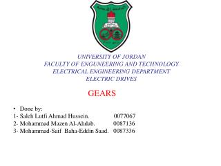 UNIVERSITY OF JORDAN  FACULTY OF ENGUNEERING AND TECHNOLOGY  ELECTRICAL ENGINEERING DEPARTMENT ELECTRIC DRIVES