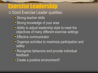 Exercise Leadership