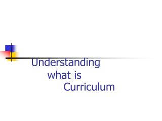 Understanding  		what is  			Curriculum