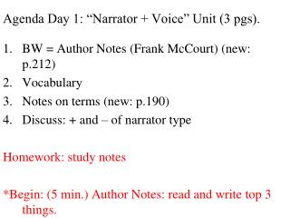 "Agenda Day 1: ""Narrator + Voice"" Unit (3 pgs)."