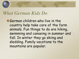 What German Kids Do