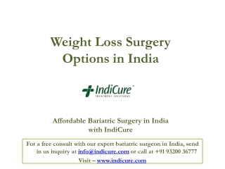 Weight Loss Surgery Options in India