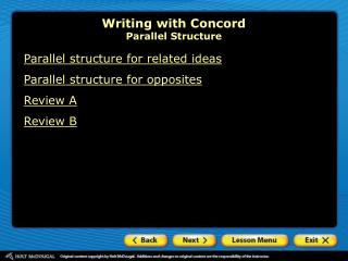 Writing with Concord Parallel Structure
