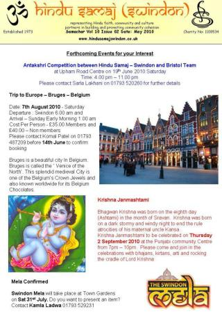 Hindu Samaj (Swindon) representing Hindu faith, community and culture partners in building and promoting community cohes