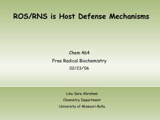 ROS/RNS is Host Defense Mechanisms