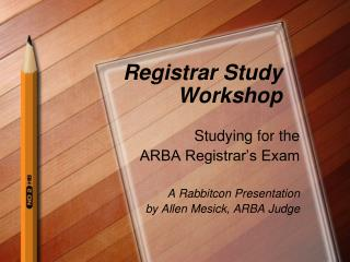 Registrar Study Workshop