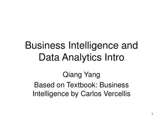 Business Intelligence and Data Analytics Intro