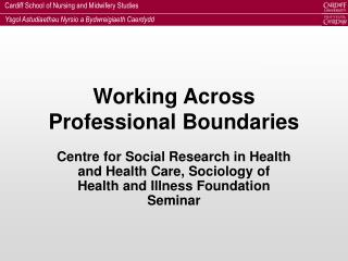 Working Across Professional Boundaries