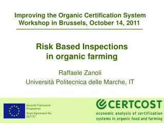 Risk Based Inspections in organic farming