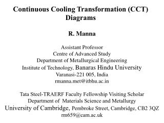 Continuous Cooling Transformation (CCT) Diagrams