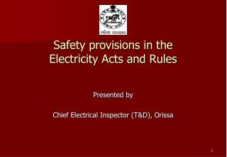 Safety provisions in the  Electricity Acts and Rules