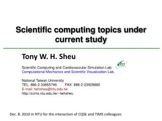 Scientific computing topics under current study