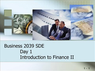 Business 2039 SDE Day 1 Introduction to Finance II