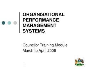 ORGANISATIONAL PERFORMANCE MANAGEMENT  SYSTEMS