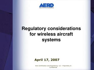 Regulatory considerations for wireless aircraft systems