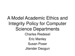 a model academic ethics and integrity policy for computer science departments