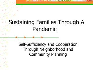 Sustaining Families Through A Pandemic
