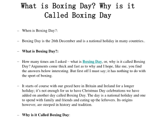 What is Boxing Day? Why is it Called Boxing Day