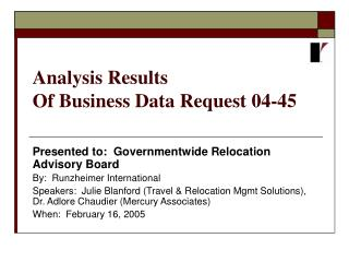 Analysis Results  Of Business Data Request 04-45