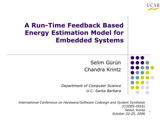 A Run-Time Feedback Based Energy Estimation Model for Embedded Systems