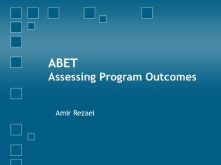 ABET Assessing Program Outcomes