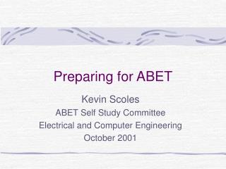 Preparing for ABET