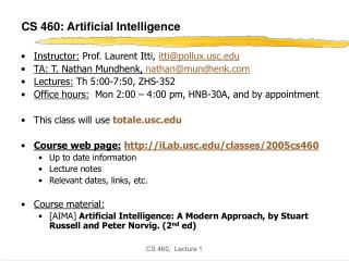 CS 460: Artificial Intelligence