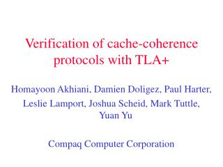 Verification of cache-coherence protocols with TLA+