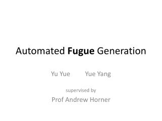 Automated  Fugue  Generation