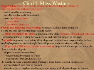 Chp14: Mass Wasting