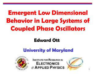 Emergent Low Dimensional Behavior in Large Systems of Coupled Phase Oscillators