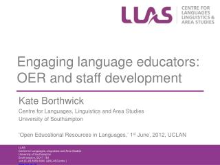 Engaging language educators: OER and staff development