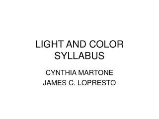 LIGHT AND COLOR SYLLABUS