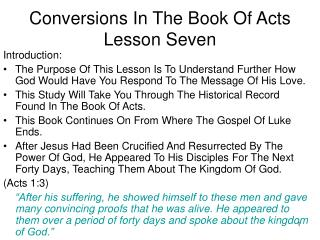 Conversions In The Book Of Acts Lesson Seven