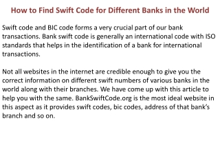 How to Find Swift Code for different Banks in the World