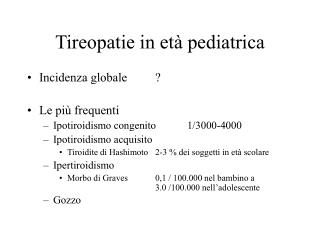 Tireopatie in età pediatrica