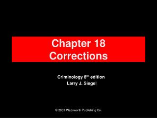 Chapter 18 Corrections