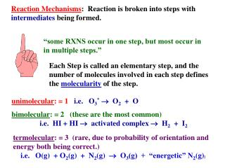 Reaction Mechanisms:  Reaction is broken into steps with intermediates being formed.