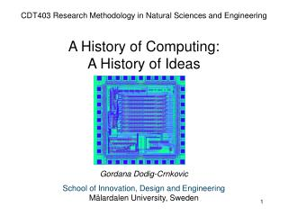 CDT403 Research Methodology in Natural Sciences and Engineering  A History of Computing:  A History of Ideas       Gorda