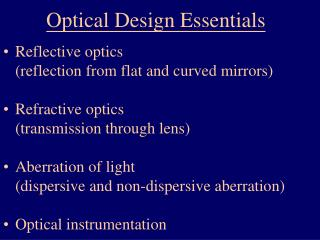 Optical Design Essentials