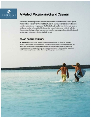 Exclusive Resorts Grand Cayman Vacation