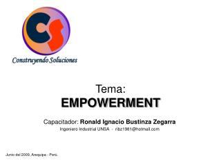 Tema:  EMPOWERMENT