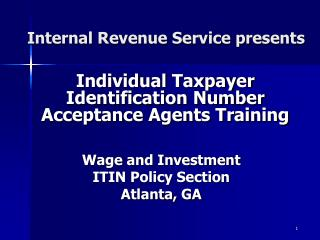 Internal Revenue Service presents