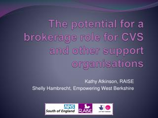 The potential for a brokerage role for CVS and other support organisations