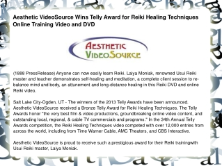 Aesthetic VideoSource Wins Telly Award for Reiki Healing