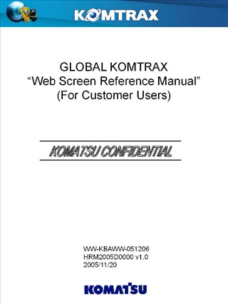 global komtrax  web screen reference manual  for customer users