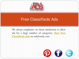 Onlyforads.com-A complete Classified Ads Website for Post Fr