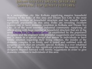 Dream Eco City special offer