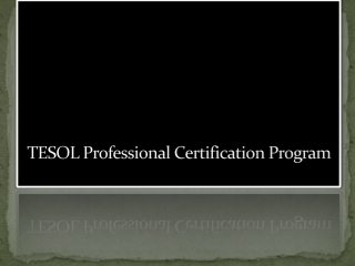 TESOL Professional Certification Program